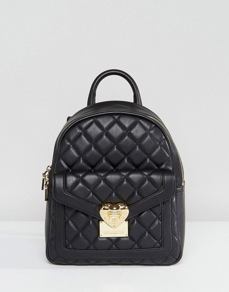 LOVE MOSCHINO QUILTED BACKPACK - BLACK. #lovemoschino #bags #silk #backpacks #suede #