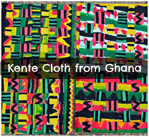 Elementary school art auction. Ghanian Kente Cloth Kids Art Project