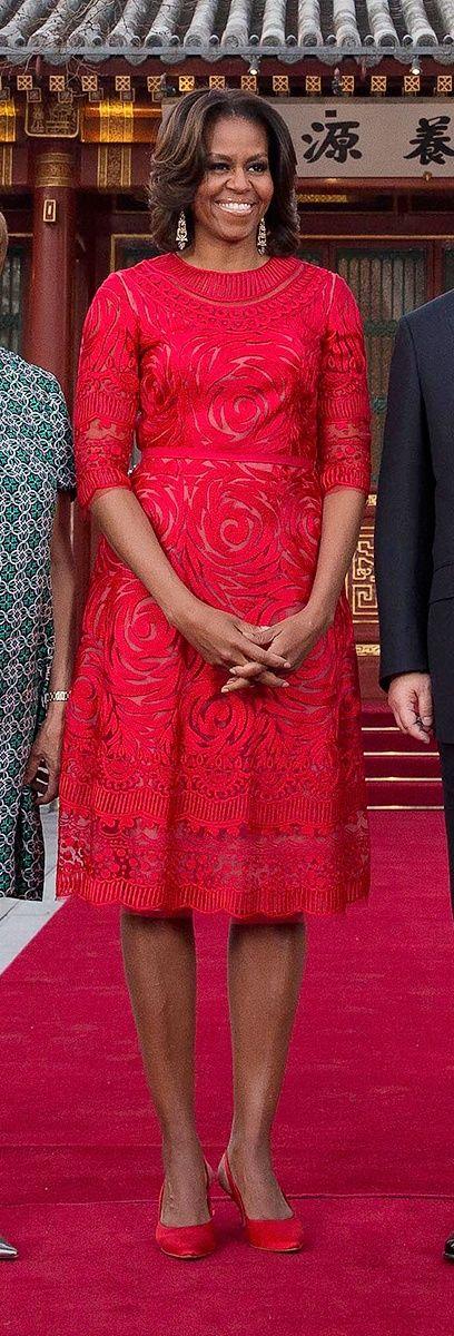 Michelle Obama in Naeem Khan — Five Stars — Vogue.com