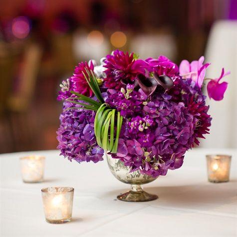 Purple Hydrangea Centerpieces