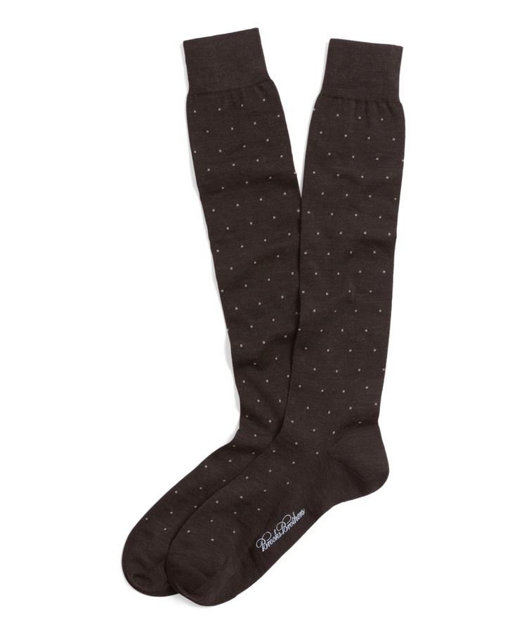 Merino Wool Big Dot Over-the-Calf Dress Sock - Brooks Brothers