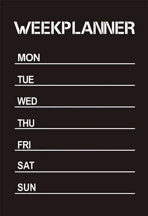 Weekplanner krijtbord sticker Op deze handige weekplanner krijtbord sticker hou je eenvoudig je week planning bij! Te gebruiken op gladde oppervlakten; bijv op de koelkast, glas of deuren. Eenvoudig te bevestigen, makkelijk er weer af te halen en zelfklev - € 6,95