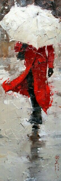 This is a painting of a woman in a red jacket holding a white umbrella, and the principle of contrast very well, the woman's surroundings are a very light shade of grey which made her  red jacket stand out and take a very clear shape, plus her pure white umbrella contrasted with the dark shades of black that represented her hands and her clothing and her red jacket.