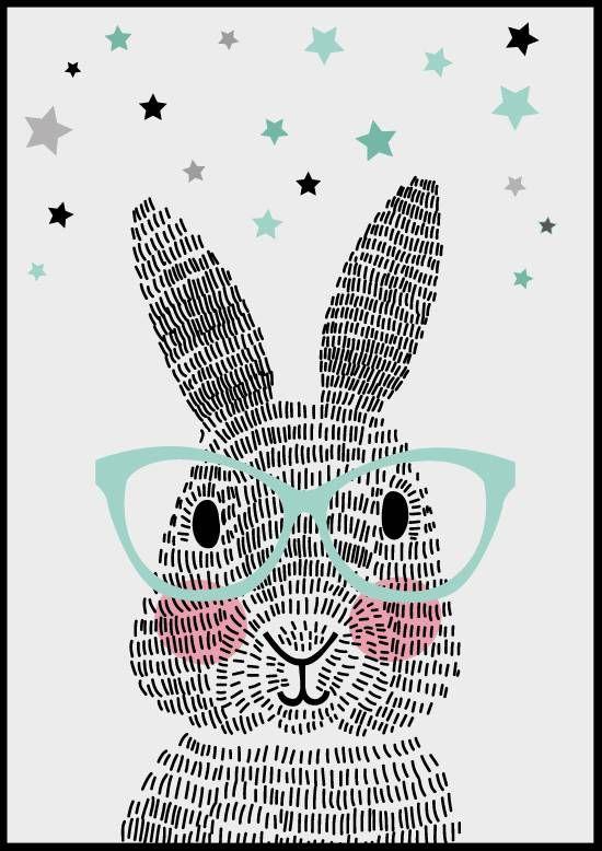 Sparkling paper poster mr. rabbit  Dit konijn bestaat niet uit één, niet uit twee, maar uit honderdachtentwintig streepjes. Geen schaapjes maar streepjes tellen. Welterusten!
