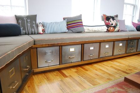 Bench with storage drawers from upcycled filing cabinet drawers. Genius!