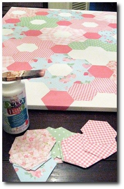 On the top of a little girls table !! DIY paper quilt on canvas (Mod Podge) cute idea for top of dresser