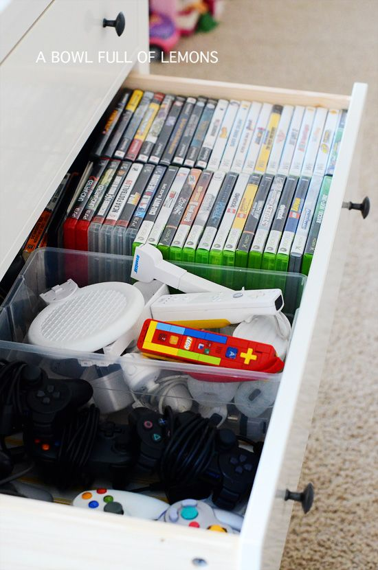 love the idea of video game storage in an old dresser. Keeping my eyes open at flea markets this spring | A Bowl Full of Lemons