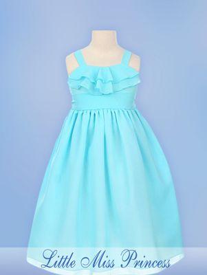 aqua flower girl dresses | Lacy Aqua Blue Flower Girl Dress #3708-555bl
