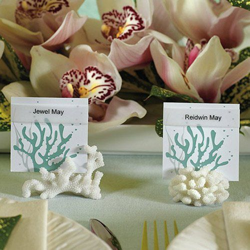 coral place card holders wedding