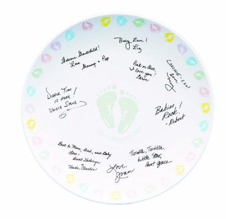 Baby feet autograph plate angel s baby shower pinterest