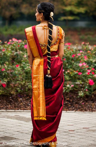South Indian bride. Temple jewelry. Maroon and mustard silk kanchipuram sari. Braid with fresh flowers. Tamil bride. Telugu bride. Kannada bride. Hindu bride. Malayalee bride.