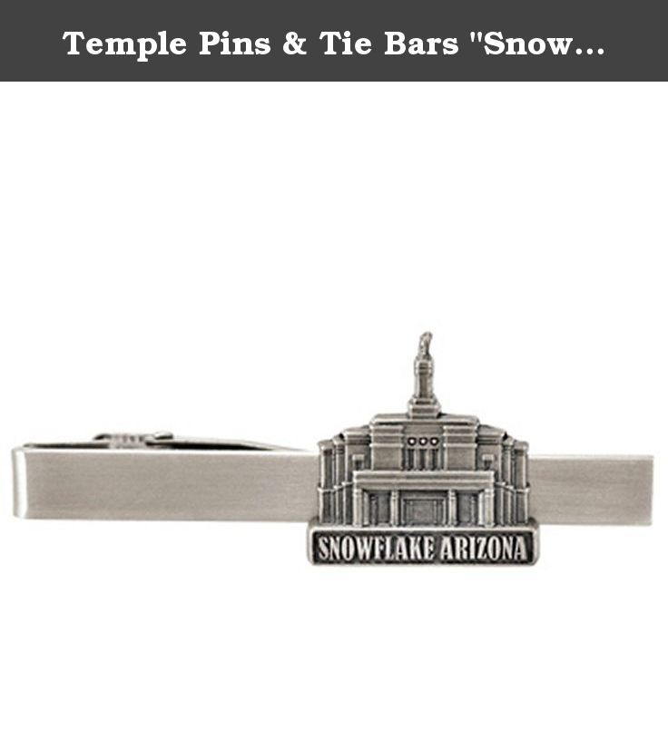 "Temple Pins & Tie Bars ""Snowflake Arizona"" (Antiqued Silver Tie Clip). This steel tie clip displays the Snowflake Arizona Tie Clip. This tie bar features a convenient clip in the back. The best way to keep a tie down in the wind, or as a personal touch. It makes a great gift for men of all ages!."