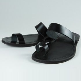 Nu-pieds Unis Noirs - sandales hommes 100% cuir sur mababouche.net
