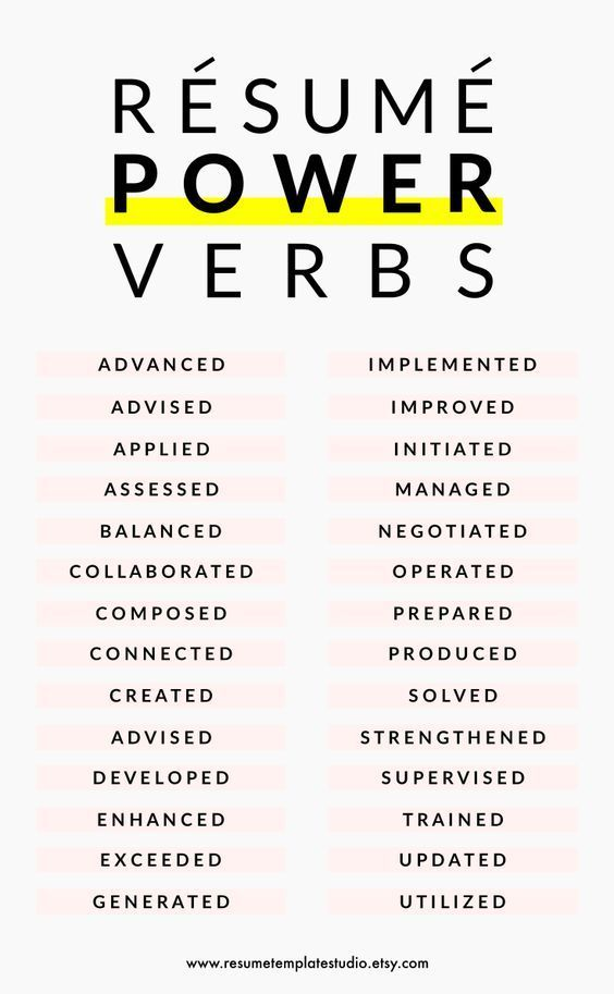 Resume power verbs and Resume tips to boost your Resume Styling - power words resume