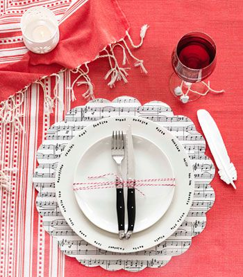 scalloped edge paper charger/red twine: Table Settings, Wrapping Paper, Music Note, Music Placemat, Place Setting, Musical Placemat, Sheet Music, Music Sheets