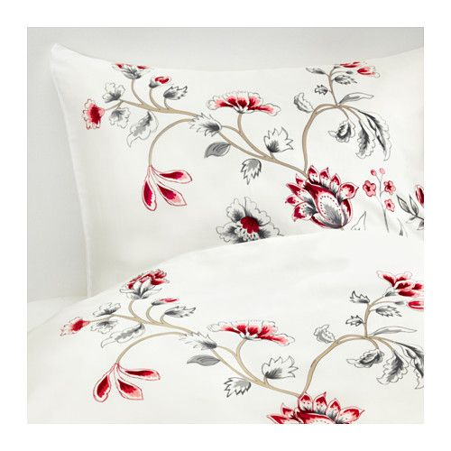 IKEA - RÖDBINKA, Quilt cover and 4 pillowcases, 200x200/50x80 cm, , Sateen-woven bedlinen in lyocell has a pronounced lustre, feels soft as silk and is pleasant to sleep in.Lyocell keeps you dry and comfy all through the night, because it absorbs and transports moisture away and helps your body maintain a comfortable, even temperature.Decorative ribbons and a concealed pocket keep the quilt in place.