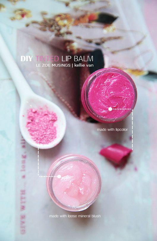 diy tinted lip balm- have makeup that you never use? Make lip balm with blush powder or lipsticks!