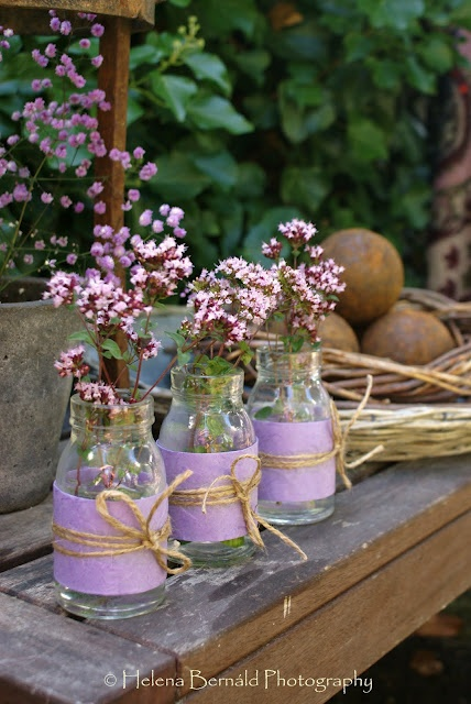 lilac, glass jars, fabric scraps, twine/jute - change flowers & colors of fabric to match ...