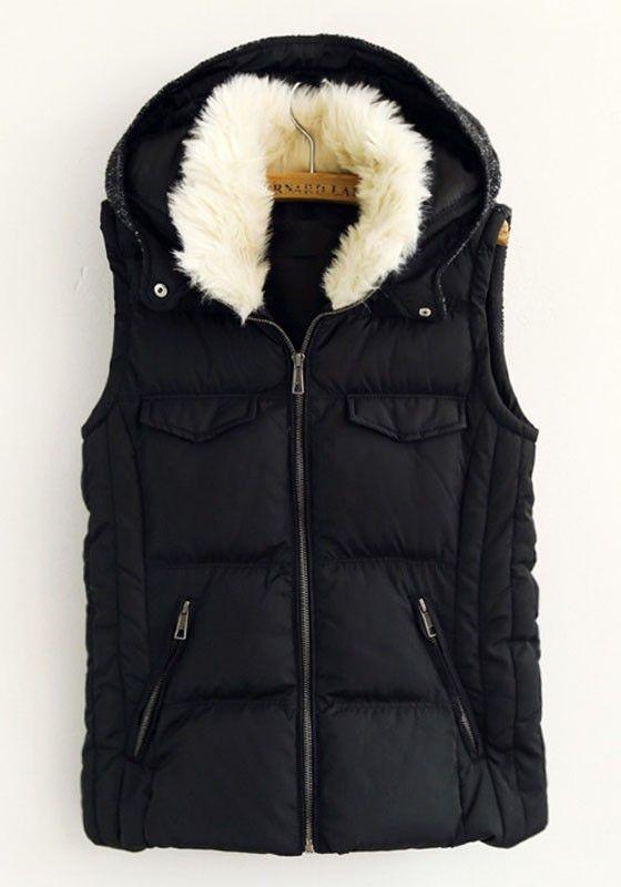 Black Fur Hooded Vest