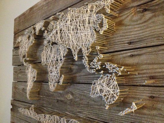 String Art World Map Barn Door Wood by RambleandRoost on Etsy #WoodWorking