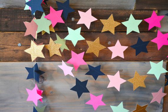 Twinkle, Twinkle Gold Glitter, Pink, Mint and Navy Star Garland Party, Photo Prop, Baby Shower, Birthday Party, Etc