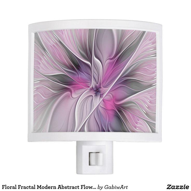 Floral Fractal Modern Abstract Flower Pink Gray Night Light