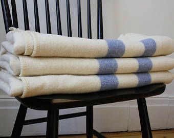 Vintage Blue and White Striped Wool Blanket