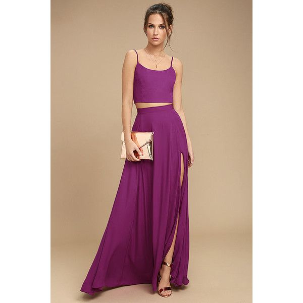 Thoughts of You Magenta Two-Piece Maxi Dress ($89) ❤ liked on Polyvore featuring dresses, purple, side slit maxi skirt, sexy purple dresses, sexy maxi dresses, two piece dresses and two piece maxi dress