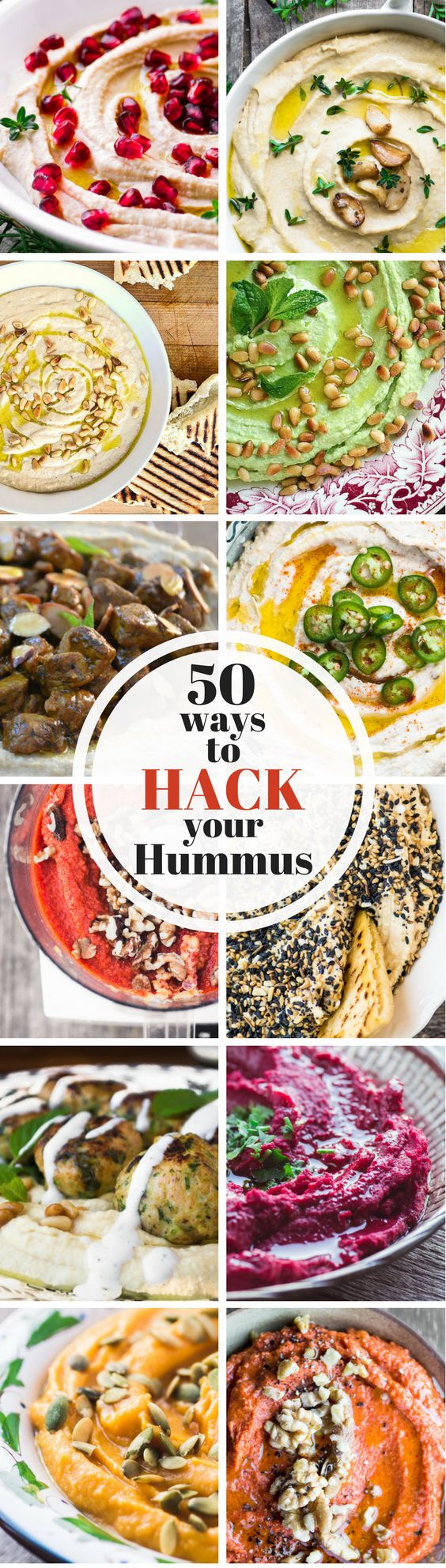 The doorbell just rang ~ and all you've got is a tub of hummus.  What to do?  Here are 50 ways to hack your hummus so you don't miss a step.  These fun and easy appetizers will get the party started ~ and everybody wins! ` theviewfromgreatisland.com