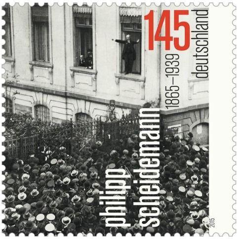 Philipp Scheidemann proklamierte die deutsche Republik am 9. November 1918 (MiNr. 3165).