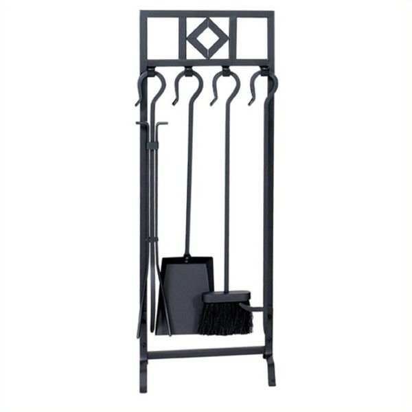 Uniflame 5 Piece Black Wrought Iron Inline Fireset with Diamond Design (€74) ❤ liked on Polyvore featuring home, home decor, fireplace accessories, black fireplace tool set, wrought iron fireplace accessories, fireplace set, black tools and 5 piece fireplace tool set