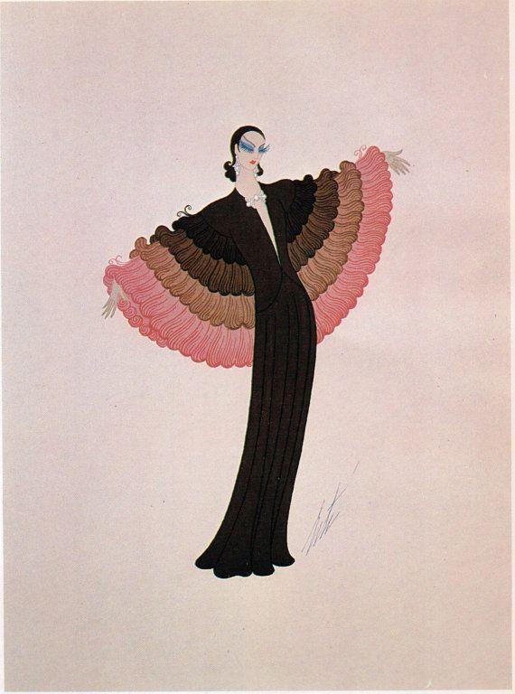 Erté Print, Art Deco Dress Design Vintage Art Paper Ephemera Original Print…