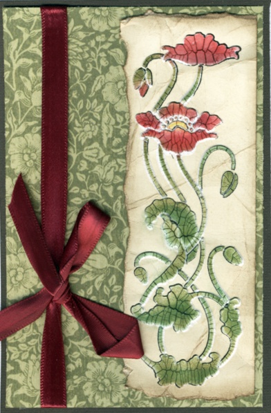 Tall Poppies stencil with Crackle paste by Laura Drahozal for Dreamweaver Stencils.
