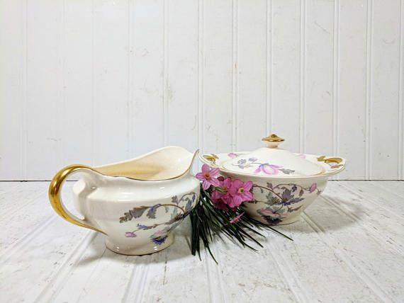 China Sugar Bowl  Cream Pitcher Pink & Purple Poppies Pattern
