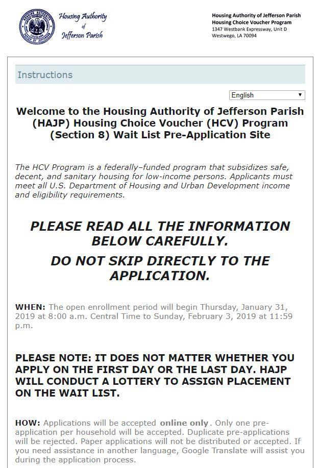 02 02 19 Louisiana Housing Page 1 Closes Tomorrow 02 03 19 Housing Authority Of Jefferson Parish Https Www Waitlistche Jefferson Parish Parish Jefferson