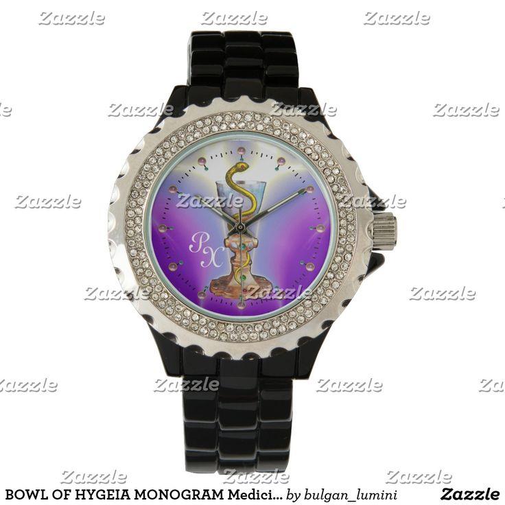 BOWL OF HYGEIA MONOGRAM Medicine, Pharmacy ,Purple Wrist Watch #medical  #pharmacist #pharmacology #watches