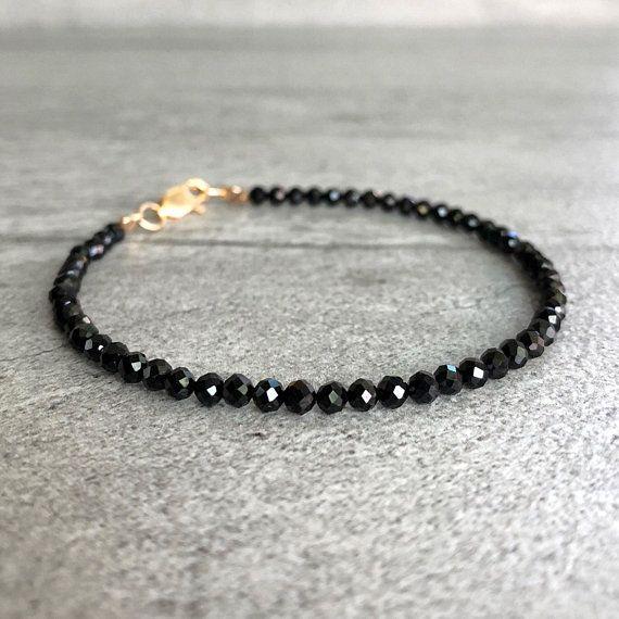 Stackable Bezel Set Natural Gemstone Bracelet Black and Silver Everyday Minimal Bracelet Black Spinel Sterling Silver Chain Bracelet