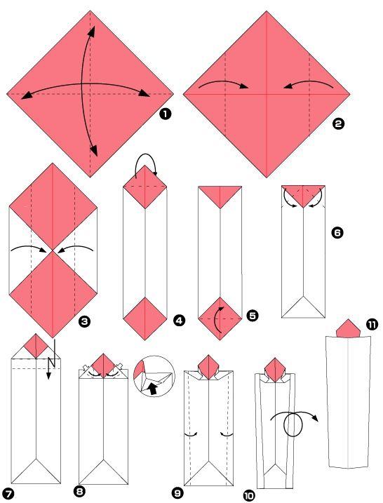 Diagramme d'origami de bougie