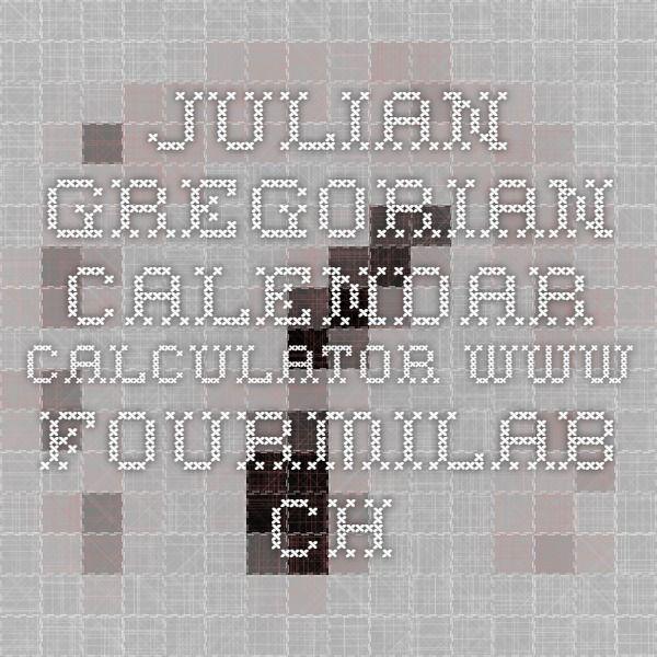Julian Gregorian calendar calculator www.fourmilab.ch