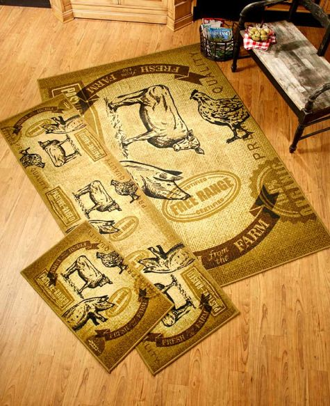 Farm Animal Kitchen Rugs Throw Area Runner Mat Country Home Decor Pig Cow