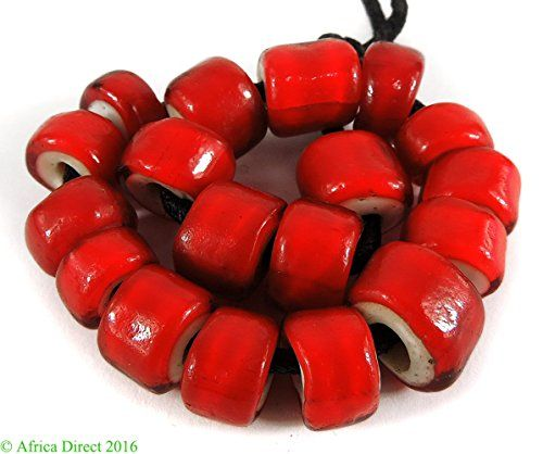 18 Whitehearts Red Trade Beads Loose