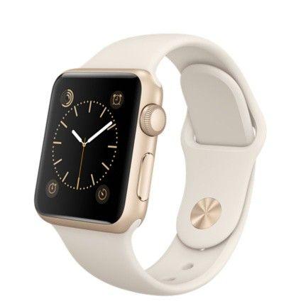 Apple Watch Sport mit Aluminiumgehäuse in gold, Sportarmband in altweiß