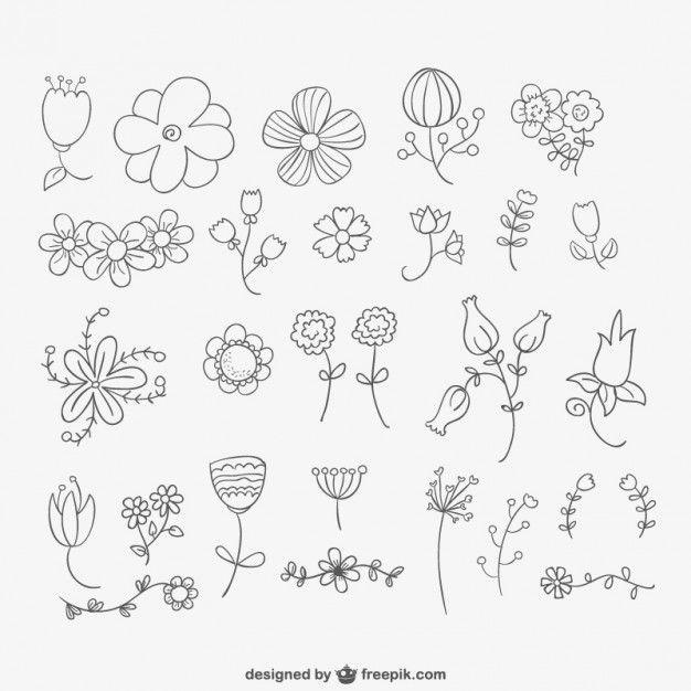 Fleurs dessinées à la main paquet