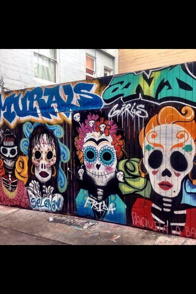 Best 25 sugar skull painting ideas on pinterest for Dia de los muertos mural