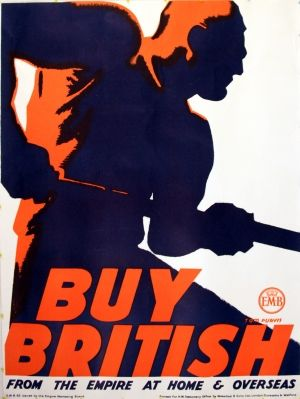 Vintage advertising poster by Tom Purvis: Buy British from the Empire at Home and Overseas. Issued by the Empire Marketing Board,1930s