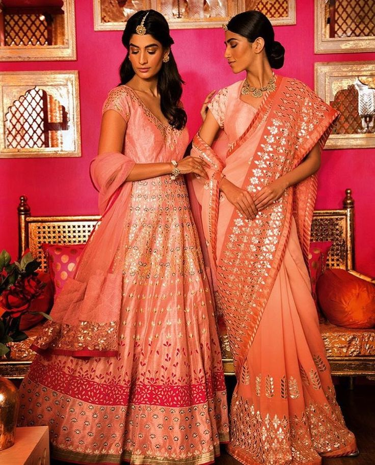 Love the hues of peach and pink with gota Patti embroidary