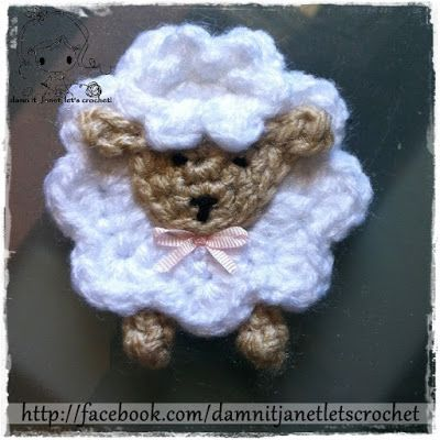 FREE crochet pattern for a Sheep Applique by Damn it Janet, Let's Crochet.