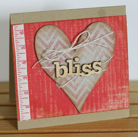 Coverall stamp used on chipboard heart - Chevron Stripes. By Tricia Ulberg