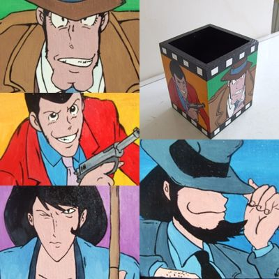 portapenne lupin dipinto a mano