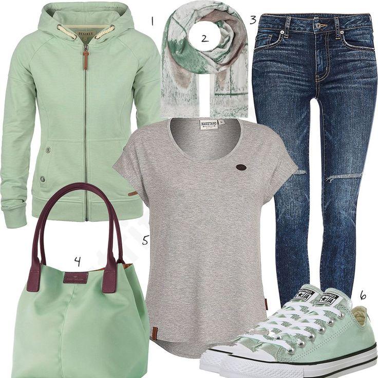 Hellgrünes Damenoutfit mit Hoodie, Schal und Sneakern (w1004) #hellgrün #shirt #hoodie #jeans #sneaker #converse #outfit #style #fashion #womensfashion #womensstyle #womenswear #clothing #frauenmode #damenmode #handtasche  #inspiration #frauenoutfit #damenoutfit